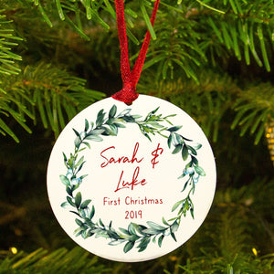 """Couples First Christmas' Mistletoe Tree Decoration"