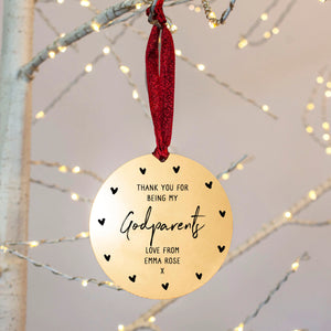 Personalised God Parent Christmas Decoration