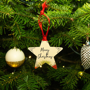 'Merry Christmas' Gold Star Christmas Tree Decoration