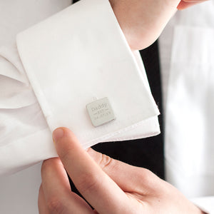 Dad Est. Year Personalised Square Cufflinks