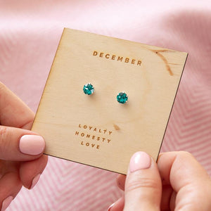 Blue Zircon Sterling Silver Birthstone Earrings Characteristic Card