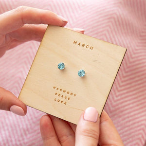 Aquamarine Sterling Silver Birthstone Earrings Characteristic Card