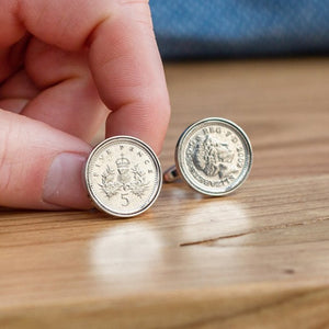 Five Pence (5p) Year Coin Cufflinks 1996 To 2004