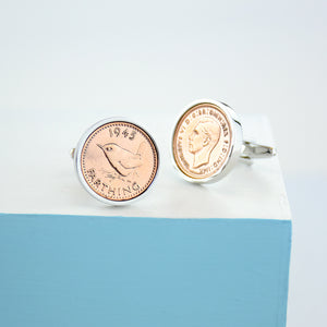 Farthing Year Coin Cufflinks 1920-1956