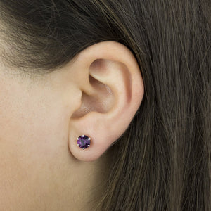 Amethyst Sterling Silver Birthstone Crystal Stud Earrings