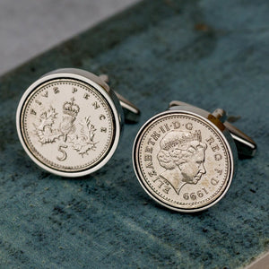 Five Pence (5p) 21st Birthday 1999 Coin Cufflinks