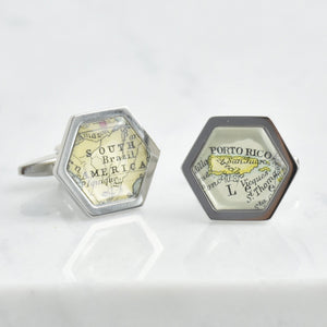 Personalised Hexagon Map Cufflinks
