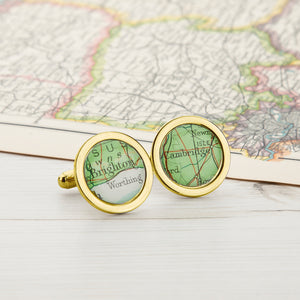 Map Personalised Cufflinks Circle Gold