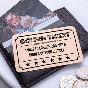 Personalised Golden Ticket Gift Voucher Wallet Keepsake