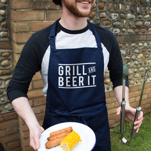 'Grill And Beer It' Men's Apron