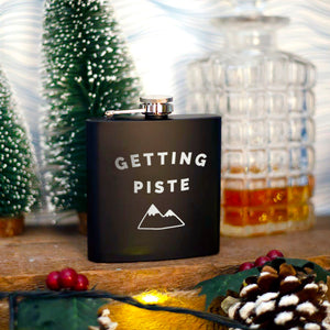'Getting Piste' Engraved Hip Flask