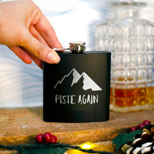 'Piste Again' Engraved Hip Flask