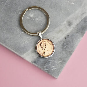 Halfpenny Year Coin Keyring 1971 To 1984