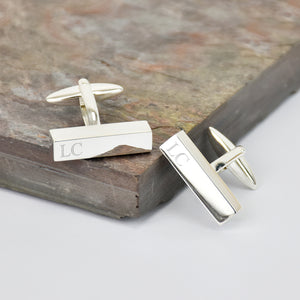 Personalised Silver Initial Bar Cufflinks