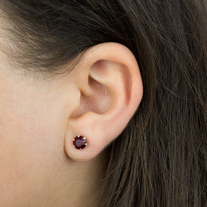 Sterling Silver Birthstone Crystal Stud Earrings
