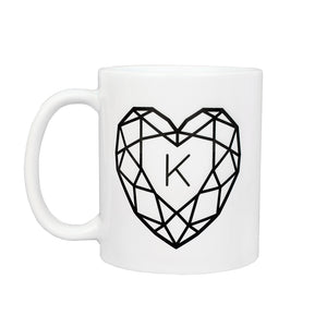 Jewelled Heart Personalised Ceramic Mug Set