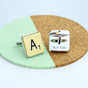 Vintage Letter Tile Personalised Cufflinks
