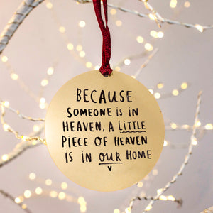 Remembrance 'A Piece Of Heaven' Christmas Decoration