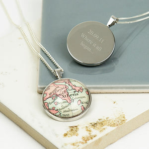 Map Personalised Pendant Necklace Circle