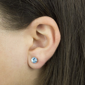 Aquamarine Sterling Silver Birthstone Crystal Stud Earrings