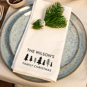 Personalised Family Scandi Christmas Trees Napkins