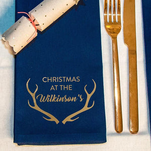 Personalised 'Christmas at' Antlers Napkins