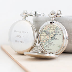 Personalised Map Pocket Watch