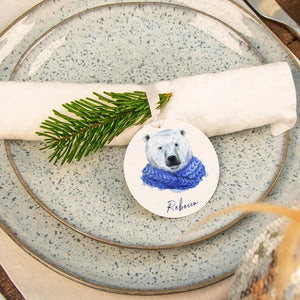 Personalised Christmas Polar Bear Place Setting