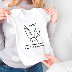 New Baby Personalised Rabbit Baby Grow