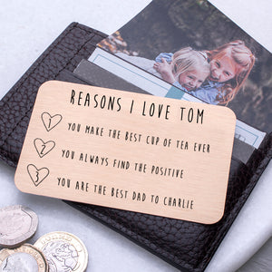 Personalised Reasons I Love You Wallet Card