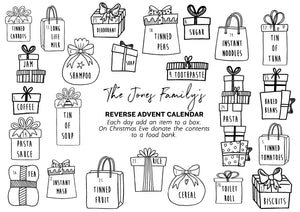 Personalised Reverse Christmas Advent Calendar Reusable