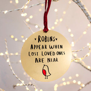 Remembrance 'Robins Appear' Christmas Tree Bauble