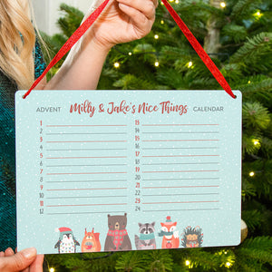 Personalised Children's Nice Things Christmas Advent Calendar