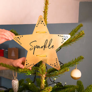 'Sparkle' Gold Star Christmas Tree Topper