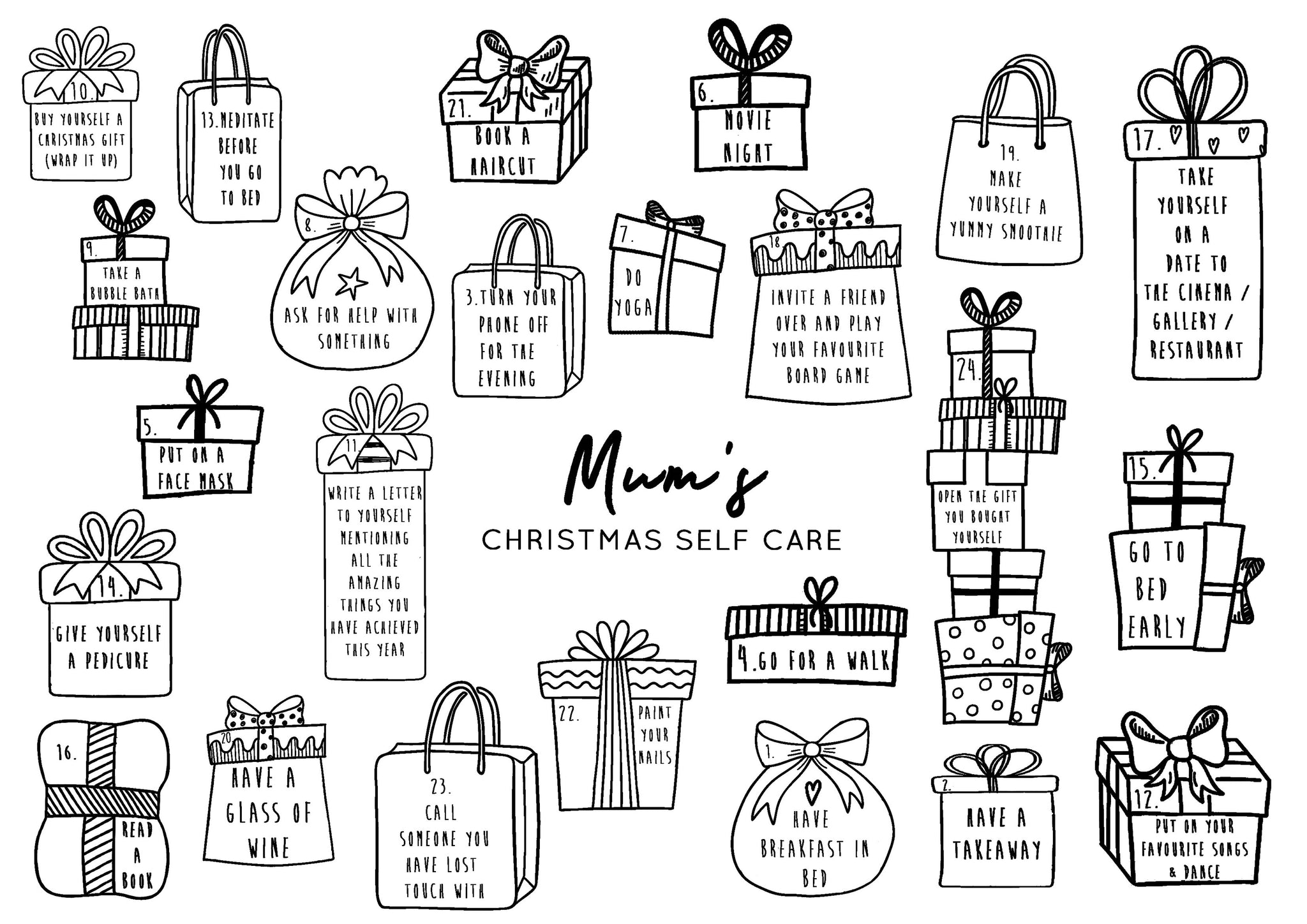 New Mum Self Care Reusable Christmas Advent Calendar