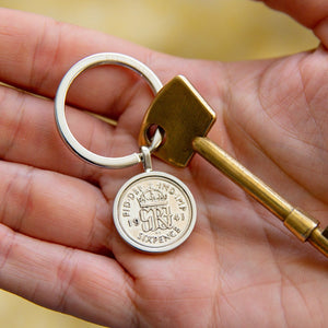 Sixpence 80th Birthday 1941 Coin Keyring