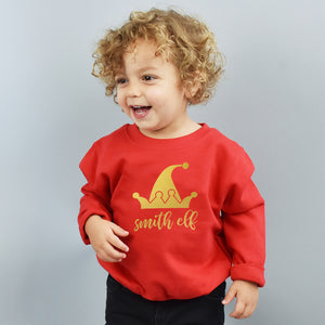 Children's Personalised Elf Christmas Jumper Sweatshirt