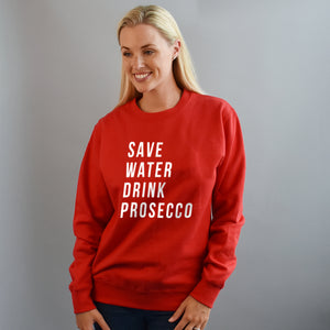 Save Water, Drink Prosecco Slogan Christmas Jumper