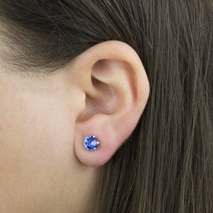 Birthstone Silver Stud Earrings With Swarovski Crystals