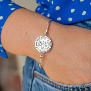 Sixpence 1950 70th Birthday Coin Bangle Bracelet