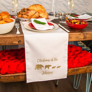 Personalised Christmas Polar Bear Family Table Runner