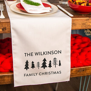 Personalised Scandi Trees Christmas Table Runner