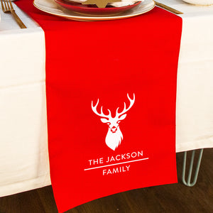 Personalised Christmas Stag Head Table Runner