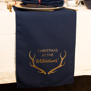 Personalised 'Christmas at the' Antlers Table Runner