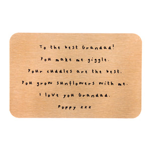 Best Grandad Personalised Message Wallet Keepsake