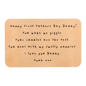 First Father's Day Personalised Message Wallet Keepsake