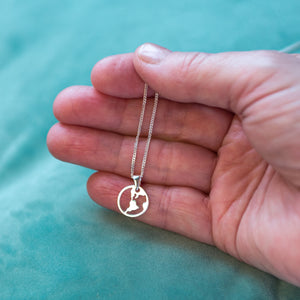 'You're My World' Sterling Silver Globe Necklace
