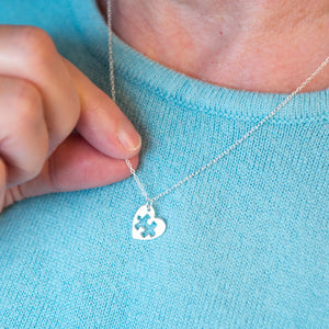 Sterling Silver Mum And Me Jigsaw Puzzle Heart Necklace