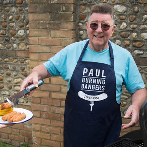 Personalised Burning Bangers Bbq Apron