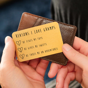 Personalised Reasons I Love Grandad Wallet Card